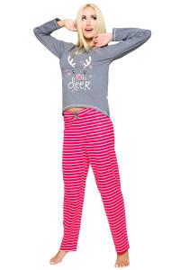 vánoční pyžamo se sobem červeno šedé