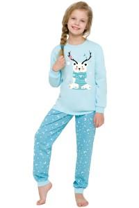 vánoční pyžamo se sobem holčičí modré