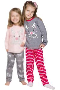 vánoční dívčí pyžamo se sobem červené šedé