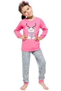 dívčí pyžamo se sobem růžovo šedé