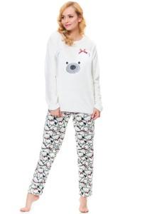 vánoční pyžamo s medvědem bílé